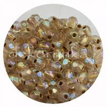 Fire Polish 3mm - koraliki czeskie szlifowane #XCL00030 Copper Line Crystal AB