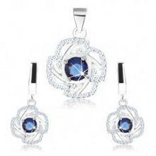 Biżuteria e-shop Zestaw - kolczyki i wisiorek, srebro 925, zarys kwiatu, niebieska okrągła cyrkonia