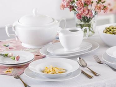 Chodzież Zestaw obiadowy dla 12 osób porcelana MariaPaula Biała