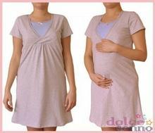 Dolce Sonno Koszula nocna ciążowa i do karmienia - Melanż-Błękit kr. rękaw