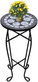 vidaXL Kwietnik, stolik z mozaikowym biao-czarnym blatem