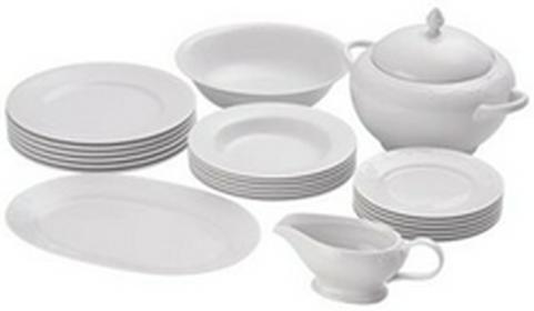 IKEA Zastawa, serwis obiadowy, biały, komplet obiadowy, porcelana skaleniowa, 22 szt.,  wz. KRY 803.202.48