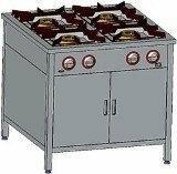 Egaz Trzon gastronomiczny gazowy 4-palnikowy, 900x700x850 mm z szafką, 20,5 kW T