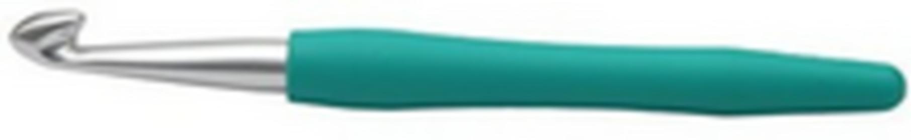KnitPro Waves 30918 szydełko tunezyjskie z miękką rączką aluminium srebrne rozmiar 10,00 mm, kolor morski (jade) KP30918