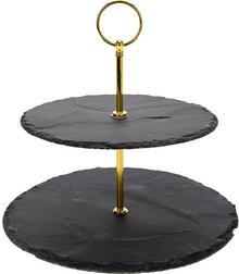 producent niezdefiniowany Kamienna patera na ciasta i przekąski 2 poziomy pozłacane dodatki B071V8TT4