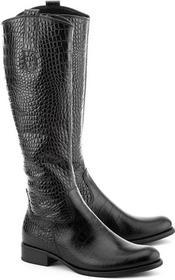 Gabor Kroko Antico - czarny skóra Kozaki Damskie - 31.638.80