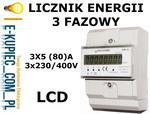Ledsystems A30-EM3-L LICZNIK ENERGII PRĄDU PODLICZNIK LCD 3-fazowy EM3-L