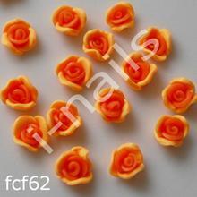 Ceramiczne Ozdoby do paznocki 3D róże podwójnie kolorowe fcf62 (4szt.) słoneczne