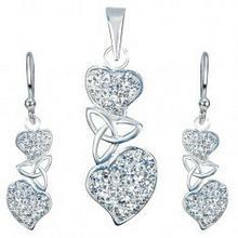 Biżuteria e-shop Srebrny zestaw 925 - kolczyki i wisiorek, przeźroczyste serca, węzeł celtycki