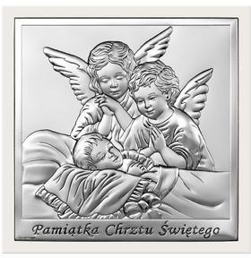 Beltrami Obrazek Anioł Stróż w białej oprawie- (BC#6444W)