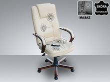 Beliani Skórzane krzeslo Fotel biurowy z masazem sterowanie pilotem bezowy DIAMO