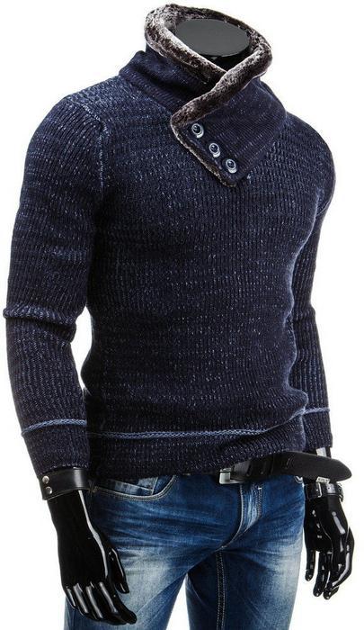 Dstreet Sweter (wx0537) - Granatowy