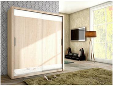 Szafa przesuwna 180x200x62cm MalysMeble VERA sonoma + białe szkło MM-SZVERASONOMA