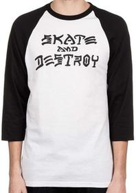 Thrasher T-shirt SKATE AND DESTOY RAGLAN WHITE czarny