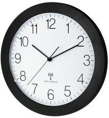 TFA Dostmann 60.3512.01 zegar na ścianę sterowany falami radiowymi, płynnie pracujący bezgłośny mechanizm, matowa czerń, średnica 300 mm 60.3512.01