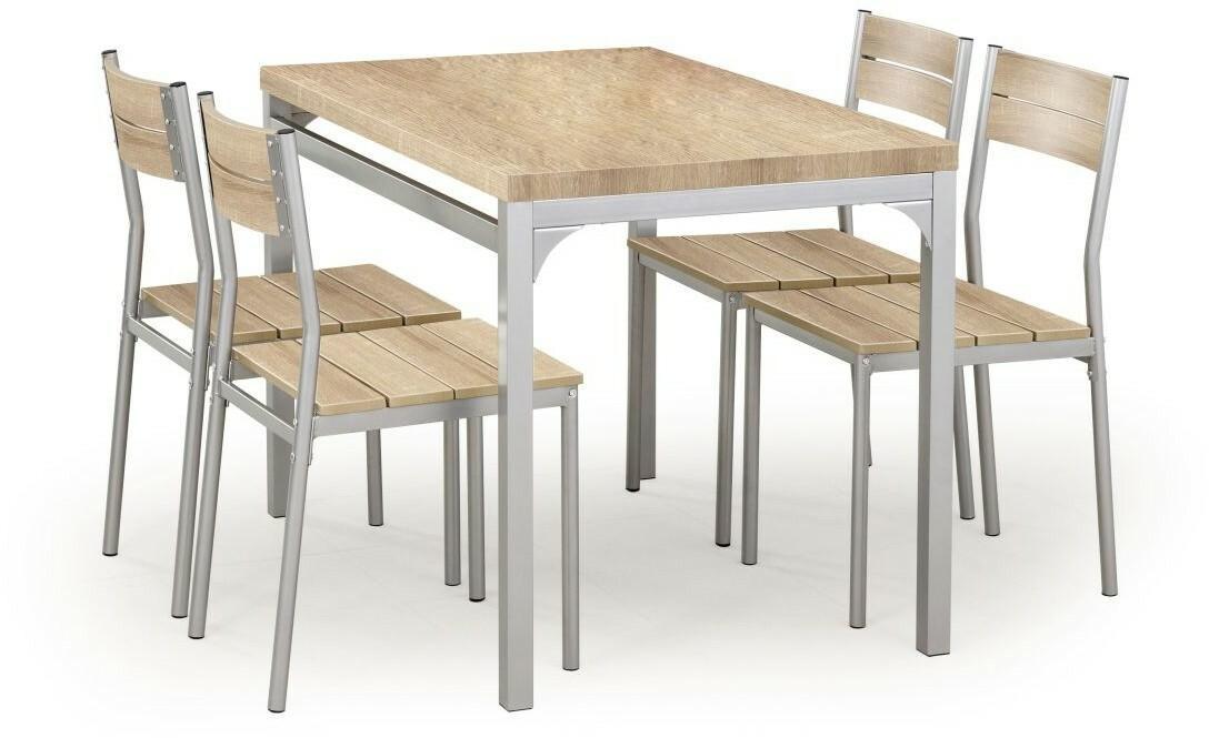 Halmar Stół kuchenny Malcolm + 4 krzesła dąb sonoma