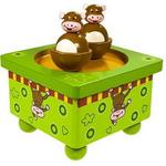 Świat Pozytywek Pozytywka tańczące małpy z drewna 44033