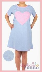 Dolce Sonno Koszula nocna ciążowa i do karmienia -Błękitna Różowe serce