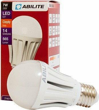 Abilite Żarówka SMD LED E27 14diod 7W 230V 550Lm ciepła biała 5901583542824
