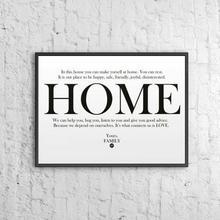 DekoSign Plakat dekoracyjny w ramie HOME biały DS-PL12-0