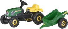 Rolly Toys Trzykołowy traktor z pedałami ROLLY Kid z przyczepką - zielony 012442