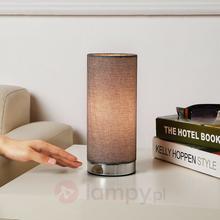 Lampenwelt Szara lampa stołowa Ronja z chromowaną podstawą