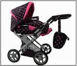 Super-Toys Wózek głęboki dla lalek 4 funkcyjny z torbą i pościelą 9346 9346-M1218+HOTPINK