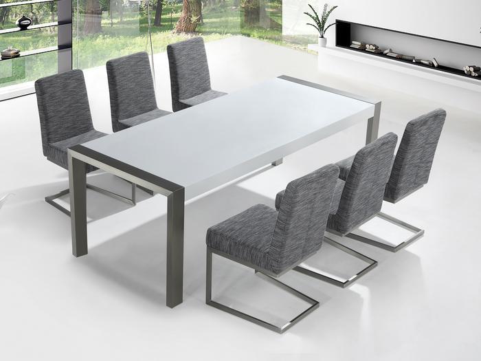 Beliani Beliani Zestaw mebli stal szlachetna – Stół 220 – Krzesła do wyboru - ARCTIC I biały