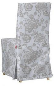 Dekoria Sukienka na krzesło Henriksdal długa Rustica lniano-beżowe kwiaty