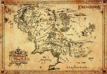 Władca Pierścieni - Mapa Śródziemia (Pergamin) - Obraz, reprodukcja