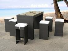 Beliani Rattanowy zestaw mebli ogrodowych 6 wysokich stolków barowych + 1 stól V