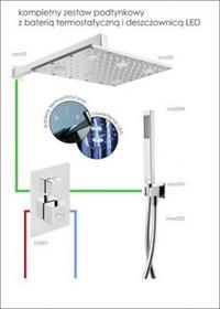 CORSAN Corsan - Zestaw podtynkowy z baterią termostatyczną i deszczownicą LED CMT01_30LEDR37 - Darmowa dostawa CMT01_30LEDR37
