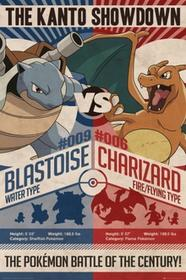Pokemon Blastoise vs Charizard - plakat