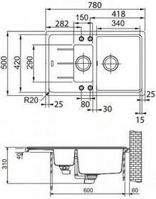 Franke Basis BFG 651-78 kamienny szary 114.0365.419