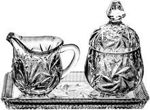 Crystal Julia Komplet śniadaniowy cukiernica dzbanek kryształ 0290