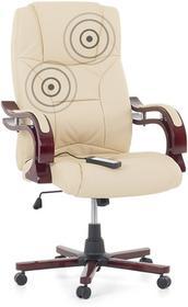 Beliani Fotel bezowy - Fotel biurowy - Skórzane krzeslo z masazem - EMPEROR