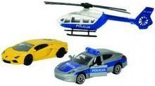 Majorette Policja Pojazdy Pościg policyjny z niebiesko-białym helikopterem 21 205 7300