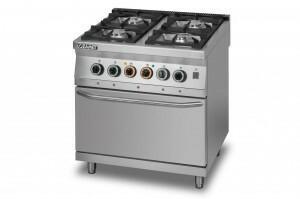 Lozamet Kuchnia gazowa 4-palnikowa z piekarnikiem elektrycznym z termoobiegiem GN2/1 L900.KG4 PET