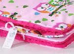 Mamo-Tato Kocyk Minky dwustronny Sówki różowe D / fuksja