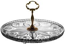 Crystal Julia Patera kryształowa z mosiądzem na ciasto 2159