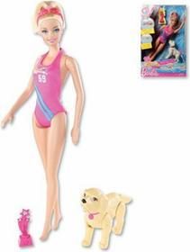 Mattel Barbie Pływaczka z pieskiem W3759