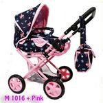 Super-Toys Wózek dla lalek głęboki 4 funkcyjny z torbą i pościelą 9346 9346-M1016+PINK