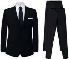 vidaXL Dwuczęściowy garnitur z dodatkowymi spodniami czarny rozm. 56