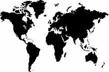 Szabloneria Naklejka na ścianę mapa 1 - Świat