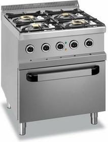 Hendi Kuchnia gazowa 4-Palnikowa z Konwekcyjnym Piekarnikiem Elektrycznym GN2/1