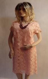 MaximoModa Sukienka koktajlowa z koronki gipiurowej XXL RO0033