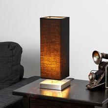 Lampenwelt Czarna lampa stołowa LED MARTJE z tkaniny