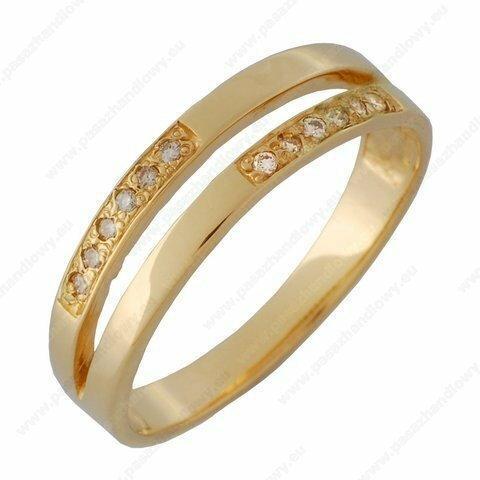 Łazur Pierścionek złoto pr 585 z brylantami - (L#BZ20)