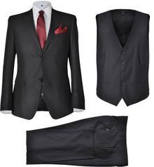 vidaXL Trzyczęściowy garnitur męski rozmiar 52 czarny