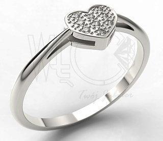WĘC-Twój Jubiler Pierścionek złoto serce z brylantami LP-40B 0,045 ct H/Si